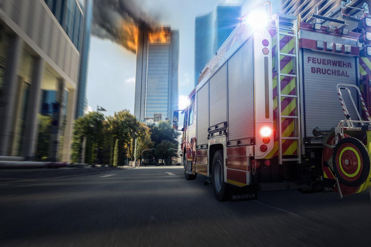 firetruck in a rush to fire site