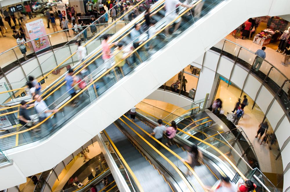 escalator at shopping mall