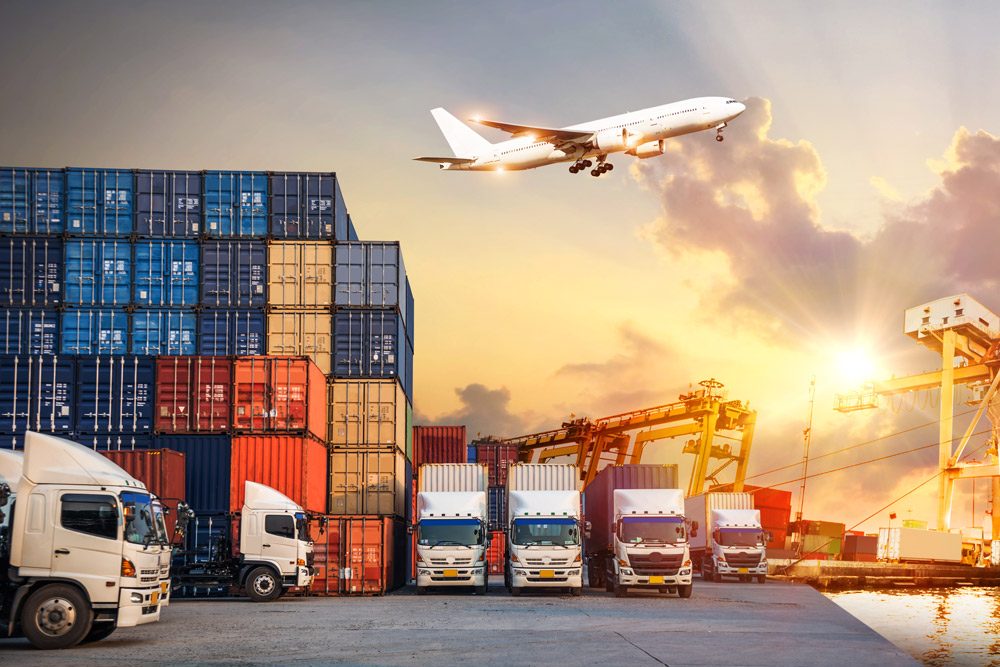 several means of transport: containers, trucks, and airplane